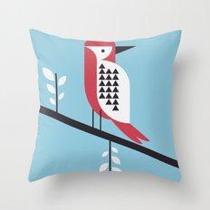 woodpecker in blue Throw Pillow