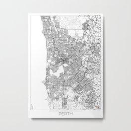 Perth Map White Metal Print