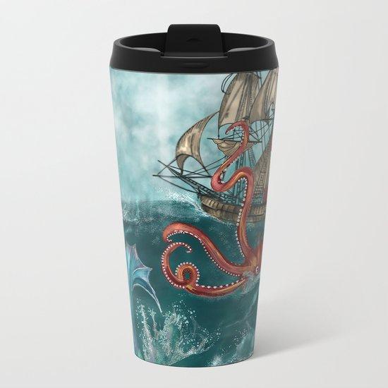 Kraken and the Mermaid Metal Travel Mug