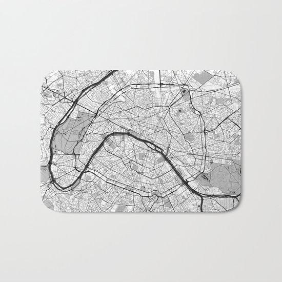 Paris Map Gray Bath Mat