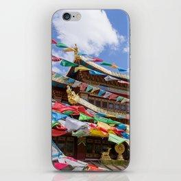 Tibetan temple with prayer flags iPhone Skin