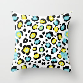 Blue and Yellow Leopard Print Throw Pillow