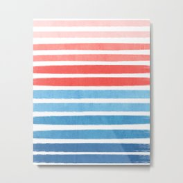 Summer Stripe - Nautical, classic, blue, red, pink, trendy cell phone case Metal Print