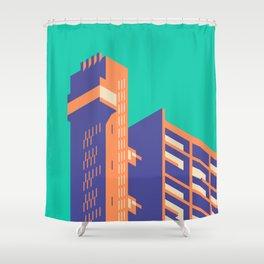 Trellick Tower London Brutalist Architecture - Plain Turquoise Shower Curtain