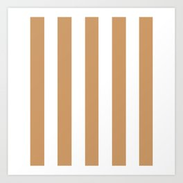 Brown Yellow - solid color - white vertical lines pattern Art Print