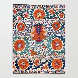 Shakhrisyabz Suzani Uzbekistan Antique Embroidery Print Poster