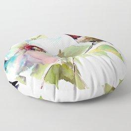 Hummingbird and White Magnolia Floor Pillow