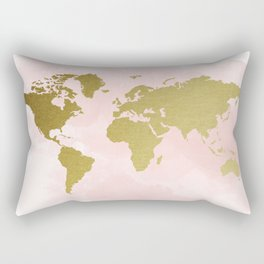 Gold World Map Poster Rectangular Pillow