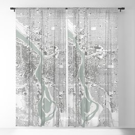 Portland, OR City Map Black/White Sheer Curtain