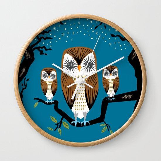 Three Lazy Owls Wall Clock