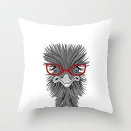 Wise Ostrich Throw Pillow