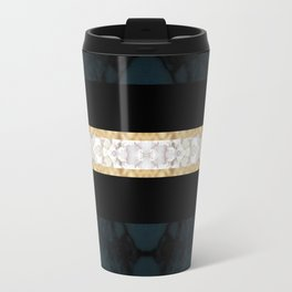 Midnight Blue Marble with Gold Glitter Ribbon Travel Mug