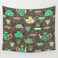 cooking Wall Tapestries featuring Tea pattern. by Julia Badeeva