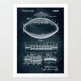1938 Play or game ball patent art Art Print