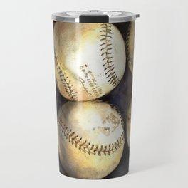 Baseball painting.  Watercolor painting of baseballs, home decor baseball Travel Mug