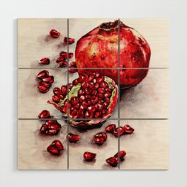 Red pomegranate watercolor art painting Wood Wall Art