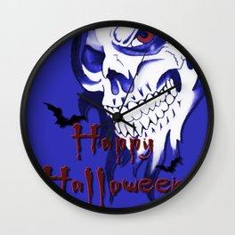 Happy Halloween, Blue demonic skull, spooky artwork, horror design Wall Clock