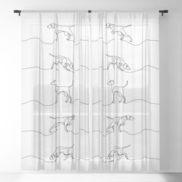 Continuous Line Weimaraners (Black and White) Sheer Curtain