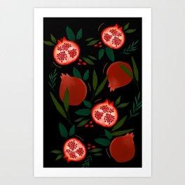 Pomegranate tropical pattern Art Print