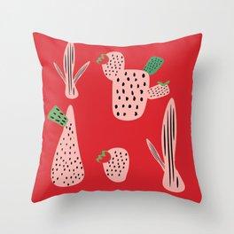 Mid Mod Cactus Red Throw Pillow