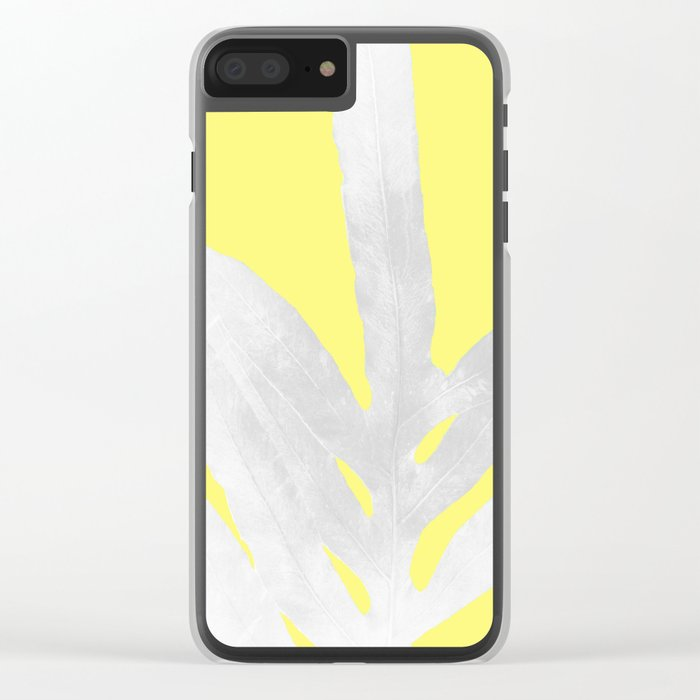 Green Fern on Lemon Yellow Inverted Clear iPhone Case