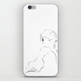 graphic sketch of a woman iPhone Skin