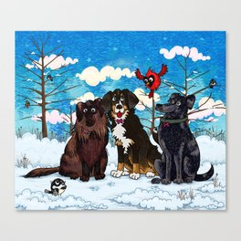 Three Dogs Posing in Winter Canvas Print