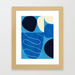 mid century abstract blue III Framed Art Print