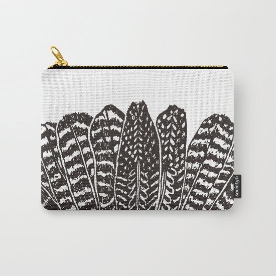 TRIBAL FEATHERS - BLACK Carry-All Pouch