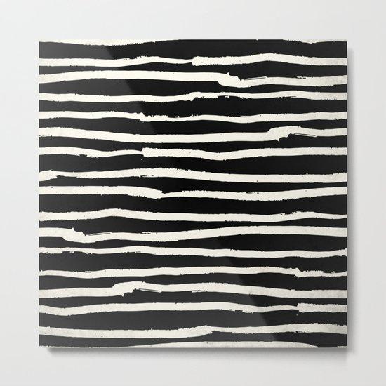 Hand Drawn Stripes on Black Metal Print
