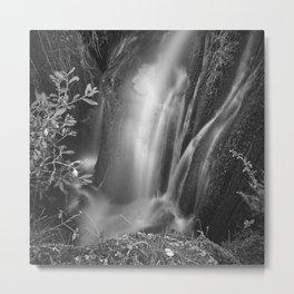 Autumn Waterfall. White Water. BW Metal Print