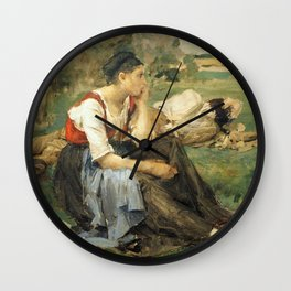 Jules Bastien-Lepage - resting Peasants Wall Clock