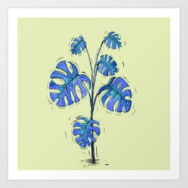 Monstera deliciosa blue version Art Print