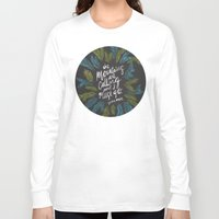the mountains are calling Long Sleeve T-shirts featuring Mountains Calling – Charcoal by Cat Coquillette