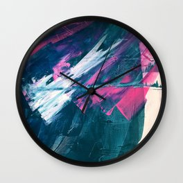 Wild [3]: a bold, vibrant abstract minimal piece in teal and neon pink Wall Clock
