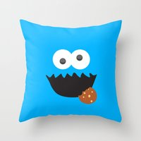 cookie monster Throw Pillows featuring Cookie Monster by whosyourdeddy