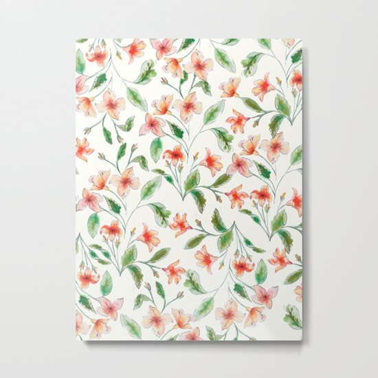 Orange Watercolor Botanical Pattern Metal Print