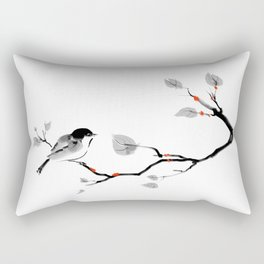 Bird on tree black and white painting Rectangular Pillow