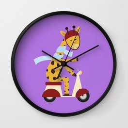 Giraffe on Motor Scooter Wall Clock