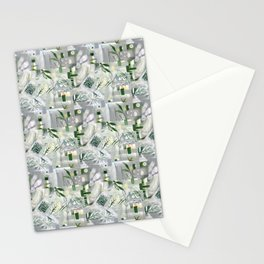 green_pattern Stationery Cards