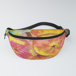 Colorful apple on green background by pastel Fanny Pack
