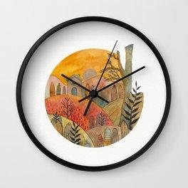 Circular watercolor landscape 2 Wall Clock