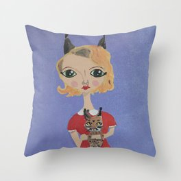 ~ Bobcat ~ 10 Year Old Amelia's Arizona Critter Girl Throw Pillow