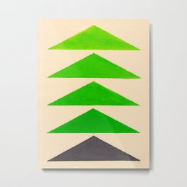 Colorful Green Geometric Triangle Pattern Metal Print