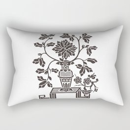 Oriental Decorative Black Vase with Cut Ornamental Flowers Rectangular Pillow