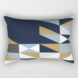 Minimal geometry blue white brown Rectangular Pillow