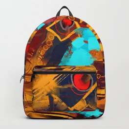 The Golden eyes, digital abstract painting  Backpack
