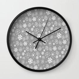 Snowflake Snowstorm In Silver Grey Wall Clock