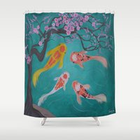 koi fish Shower Curtains featuring koi fish by Marie Ariza
