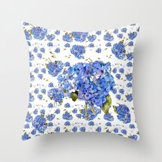 Cape Cod Hydrangeas and Birds Throw Pillow